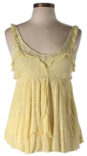 Free People Lace Trim Textured Top Yellow