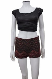 Free People People Knit Overlay Chevron Striped Mini/Short Shorts Burgundy