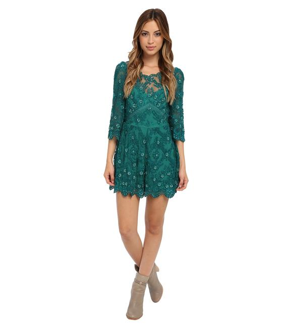 7f4423b57a9 good Free People Green Songbird Emerald Sequin Embellished Lace Romper  Jumpsuit - 70% Off