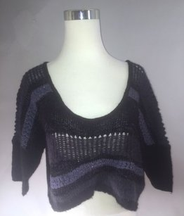 Free People People Wool Blend Striped Cropped Sweater
