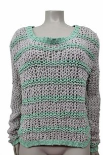 Free People People Green Long Sleeve Chunky Knit Striped Sweater
