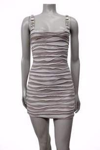 Free People People Whirlwind Stripe Date Downtown White Taupe Tp Dress