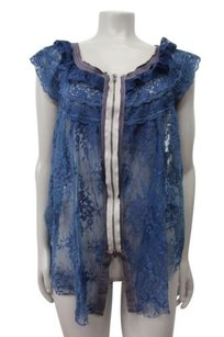 Free People Fly Away Zip Front Top Blue