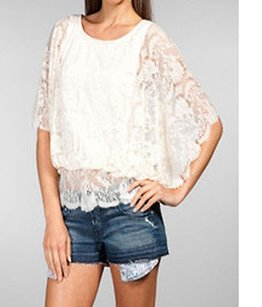 Free People Crissys Lace Top cream