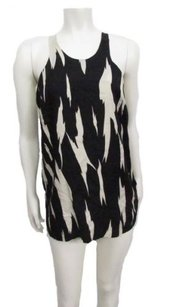 French Connection Bold Print Racer Back Silk Top black cream