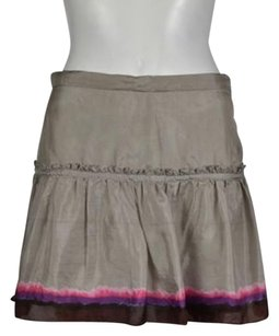 French Connection Womens Printed Mini Above Knee Mini Skirt Taupe Brown