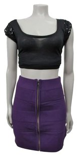 French Connection Exposed Zip Front Bandage Skirt Purple