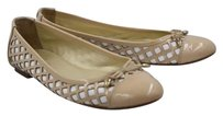 French Sole Fsny Womens Color Block Ballet Patent Leather Slip On Tan Flats