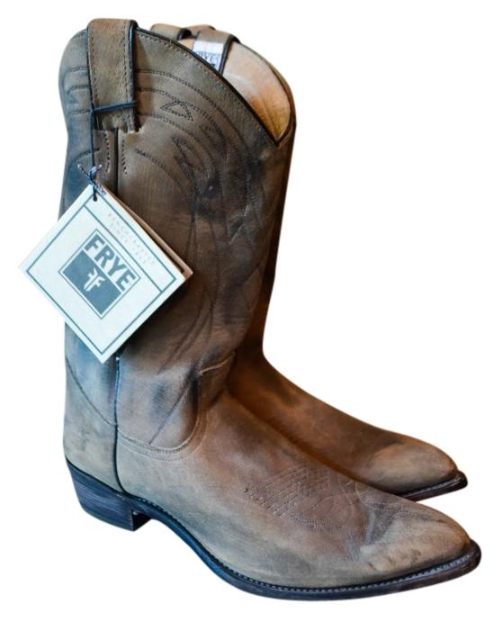 "Frye Beige Brown ""Billy Pull On"" Cowboy Boots/Booties Size US 11 Regular (M, B)"
