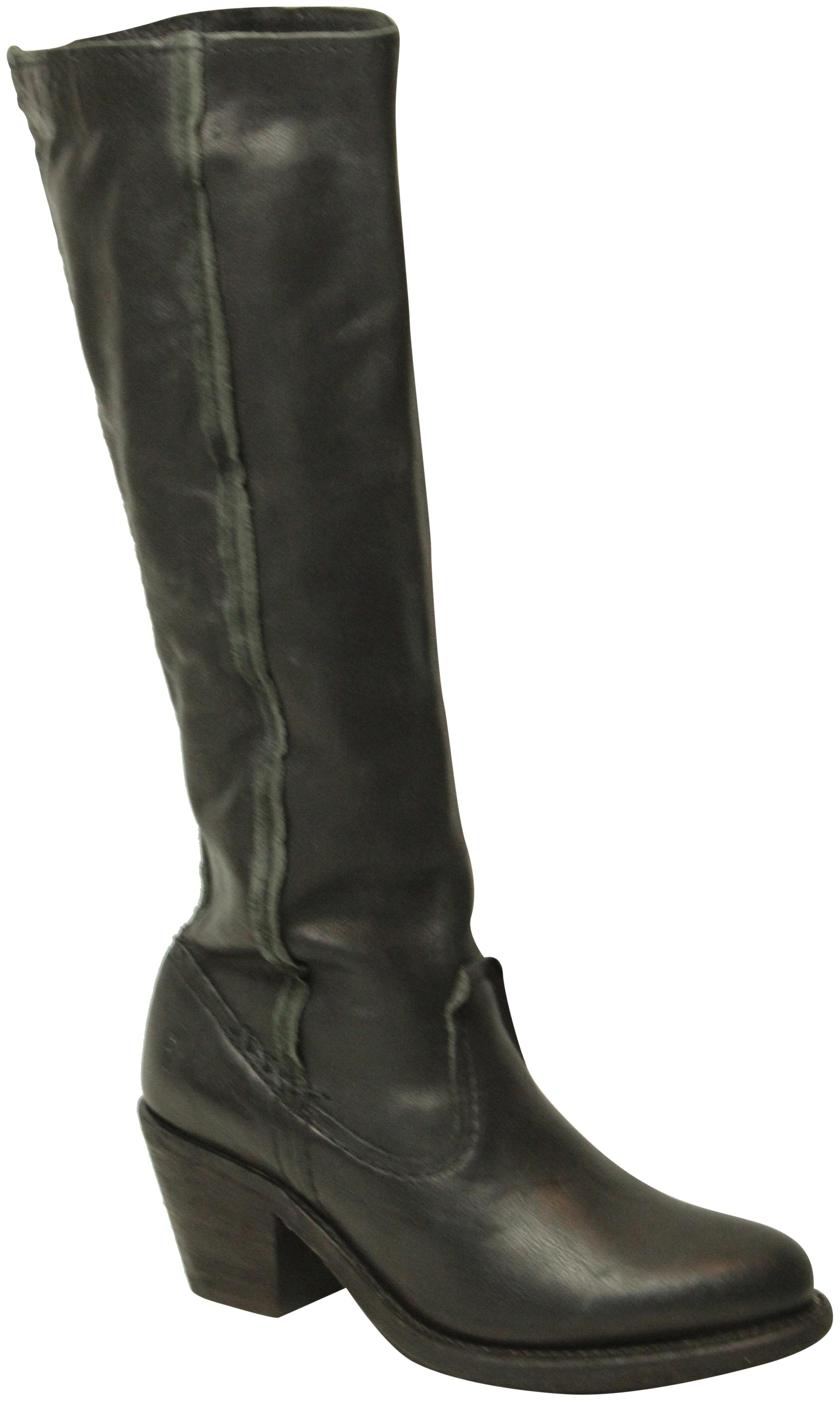 Frye Washed Vintage Leather Upper Light Distressing Half Zip Closure Made  In Mexico Black Boots ...