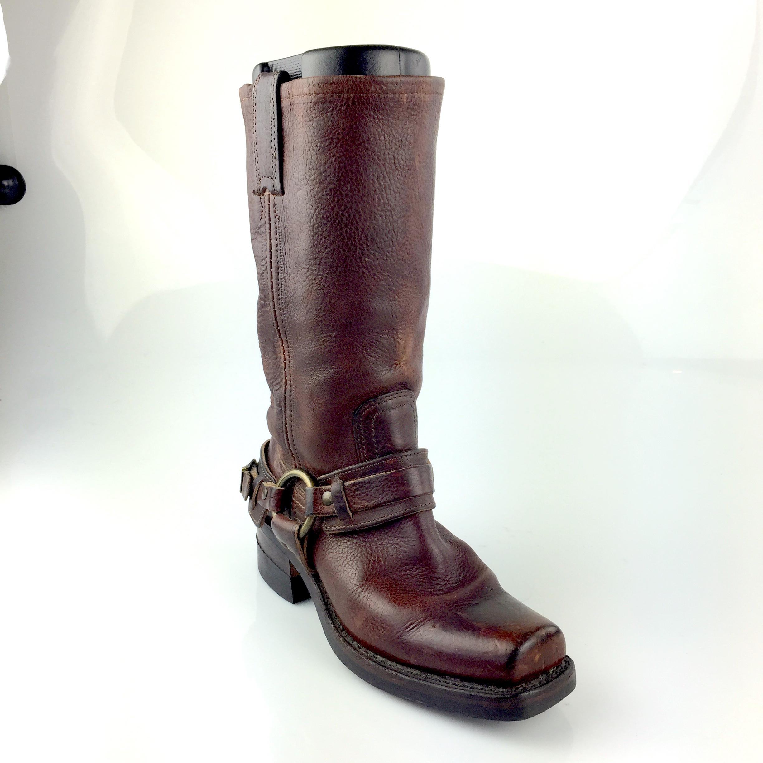 Frye 77250 Belted Harness Brown Boots ...