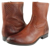 Frye Melissa Perforated Womens Designer Ankle Heels Whiskey Boots