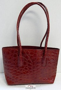 Furla Italy Croc Tote in Red