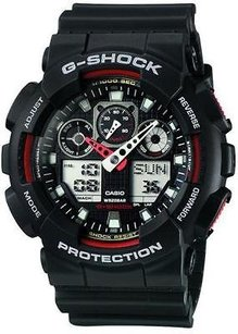 G-Shock Ga100-1a4 G-shock Mens Anti-magnetic X-large G Dive Watch Red Black Ana-dig