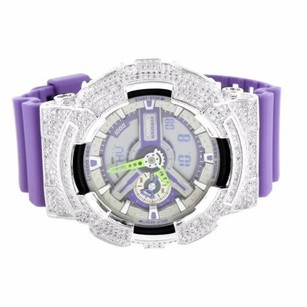 G-Shock Mens Customized Real Gshock Watch Model Ga110dn-6a Iced Out Rhodium Plated Bezel