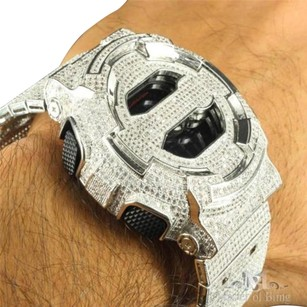 G-Shock Mens Dw6900 G Shock Metal Band Digital Watch Iced Out All White Cz Silver Color