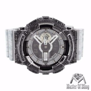 G-Shock Mens G Shock Ga110sl-8a Slash Print Gray Silicon Band Watch Black Iced Bezel