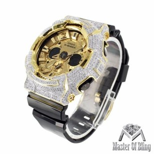 G-Shock Mens G-shock Ga200gd Watch Cz Iced Bezel Gold Tone Dial Analog Digital Display