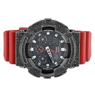 G-Shock Mens G-shock Watch Black Simulated Diamonds Ana-dig Ga100b Red Silicone Band