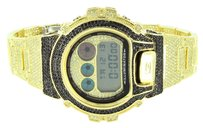 G-Shock Mens G Shock Watch Fully Iced Out Custom Canary Black Cubic Zirconia Dw6900