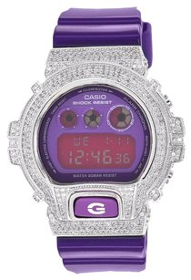 G-Shock Purple G Shock Watch Dw6900cc-6ds Glossy Strap Purple Face Simulated Diamond