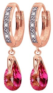 2.53 CT 14k Rose Gold Diamond and Pink Topaz Hoop Dangling Earrings