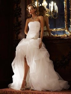 Galina Organza And Tulle High-low Gown With Beaded Flower Wedding Dress