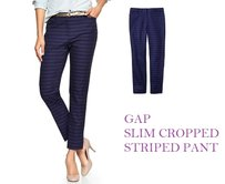 Gap Ankle Striped Preppy Capri/Cropped Pants BLUE NAVY PURPLE