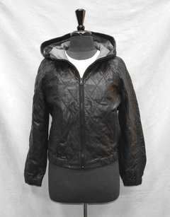 Gap Leather Quilted Lined Hooded Bomber 988955 Black Jacket
