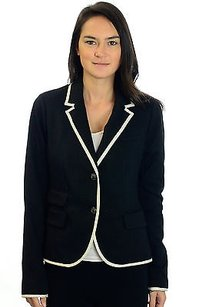 Gap Gap Black Wwhite Trim The Academy Blazer Wfaux Front Pockets Embossed Button