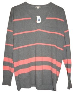 Gap V-neck Long Sleeve Striped Boyfriend Sweater