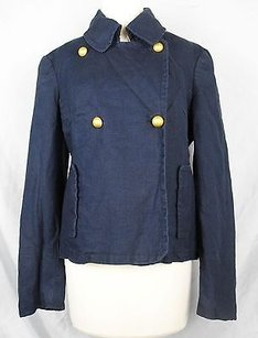 Garnet Hill Navy Linen Fully Blue Jacket