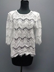 Generation Love Sleeve Lace Eyelet Open Back Sm7963 Top White