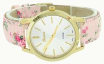 Geneva Pink Floral Band Watch Womens Gold Tone White Dial Analog Water Resistant Classy