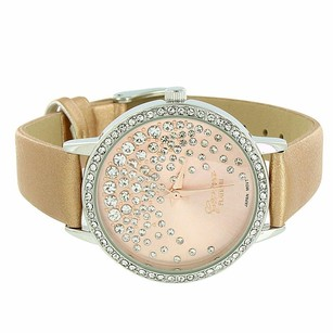 Geneva Gold Leather Band Pink Dial Floating Stones Design Ladies Simulated Diamonds
