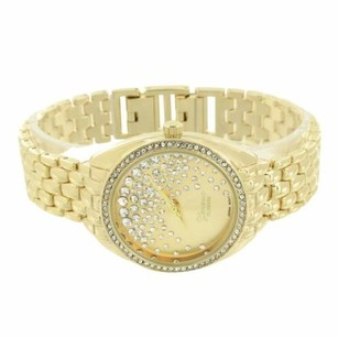 Geneva Gold Plate Watch Simulated Diamond Bezel Stainless Steel Back Water Resistant