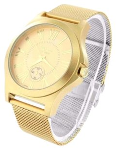 Geneva Gold Tone Mens Watch Mesh Band Tone Sleek Look Geneva Platinum Water Resistant