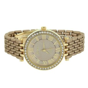 Geneva Gold Tone Watch Simulated Diamonds Light Coffee Brown Band Roman Numeral Dial