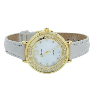 Geneva Gold Tone Womens Watch Slim Design Party Wear Floating Stones Dial Leather Band