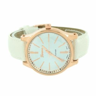 Geneva Rose Gold Finish Watch White Dial Analog White Leather Band Water Resistant Sale