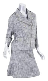 GERARD DAREL Gerard Darel Womens Cotton Blackwhite Tweed Motorcycle Skirt Suit Outfit