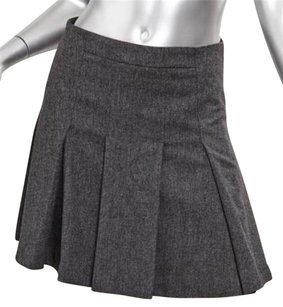 GERARD DAREL Darel Womens Charcoal Wool Blend Pleated Mini 366 Skirt Gray