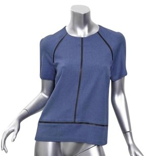 GERARD DAREL Womens Wool Leather Trim Short Sleeve Shirt 36s Top Blue