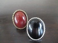 Gerard Yosca Gerard Yosca Oval Puff Brown Stone Brass Cocktail Ring