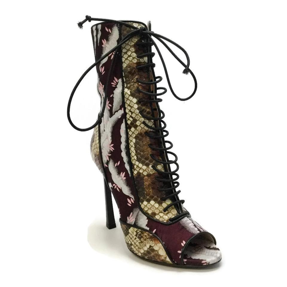 5a67badd038 Giambattista Valli Multicolored Brocade Snake Boots Booties Size EU 36.5  36.5 36.5 (Approx. US 6.5) Regular (M
