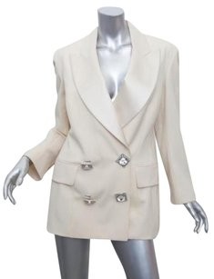 Gianfranco Ferre Womens Vintage Wool Jeweled Button Blazer Coat Ivory Jacket