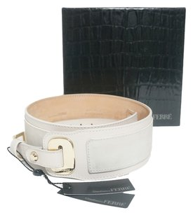 Gianfranco Ferre GIANFRANCO FERRE Off-White Leather Suede Belt Sz 36.