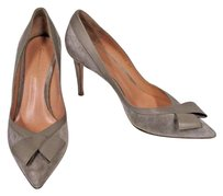 Gianvito Rossi Suede Pointed Toe With Leather Trim Front Bow Dust Pumps