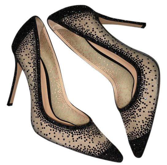 Gianvito Rossi Black/Nude Rania Crystal Embellished Pumps Size US 7 Regular (M, B)
