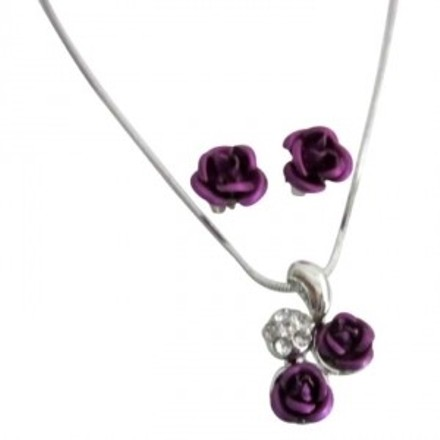 Purple Rose Gift Holiday Special Offer Pendant Jewelry Set